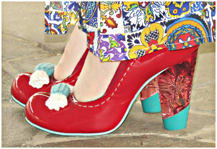 Irrehular Choice red patent leather shoes with perspex heels. The detailing is a little crochet-candy!