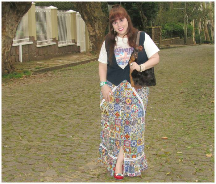 Tiles' print maxi skirt (Mamo) and Cavern Club T-shirt, I got in Liverpool