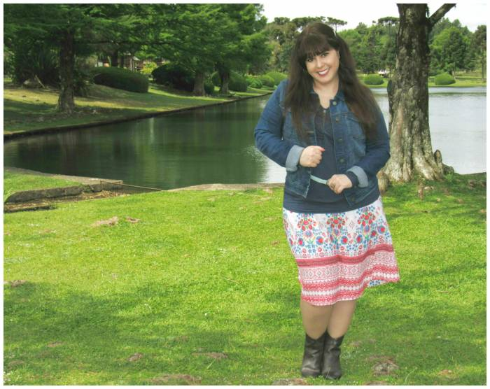 Skirt - my design, made by my seamstress! Blue top, Victora. Underneath top, Asos. Denim jacket, Penneys
