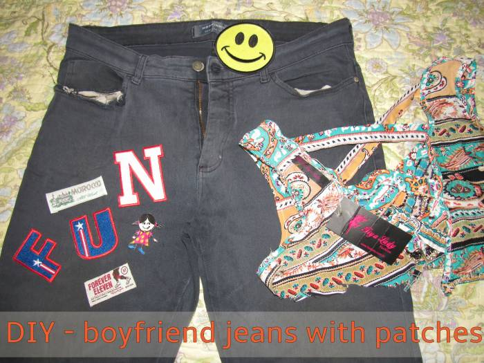 "Get a ""gift"": male jeans, worn out. Ask your seamstress to tighten it for you, and buy patches!"