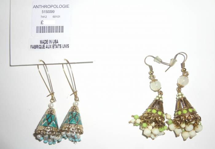 When you forget you have some earrings... and buy nearly the same again :) Anthropolie earrings, never worn, from London; on the right, bought in Brussels