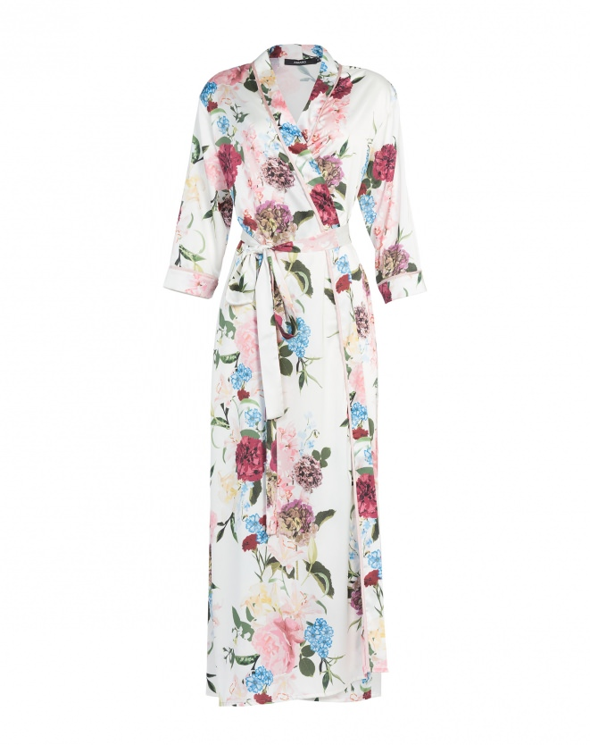 Amaro maxi satin robe dress