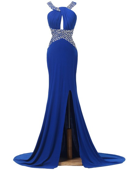 Trumpet/Mermaid Chiffon Court Train Split Front Backless Royal Blue Prom Dress