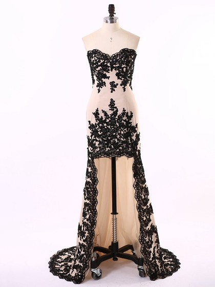 Sheath/Column Asymmetrical Chiffon Appliques Lace Unique High Low Prom Dress