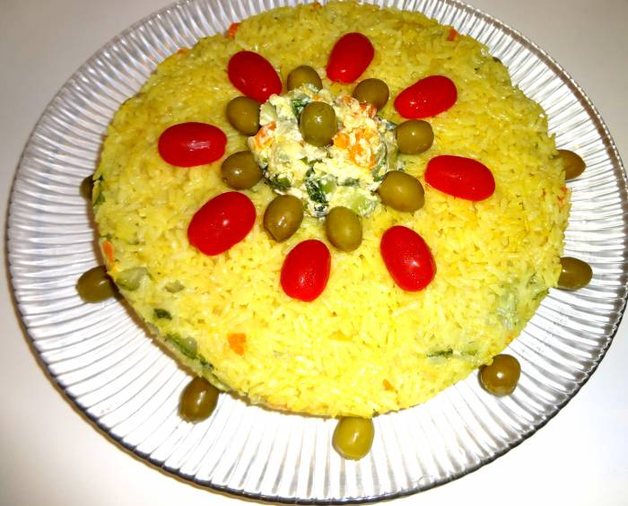 Tahchin - an Iranian rice cake, vegetarian version