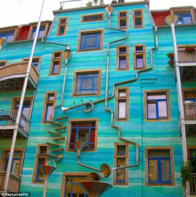 "This building in Dresden ""plays"" music when it rains! How cool! Photo credit here"