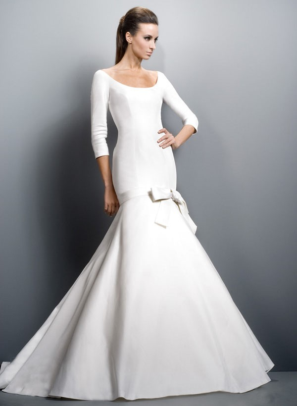 Gentle Scoop Neckline Long Sleeves Belt With Bowknot Court Train Wedding Gown