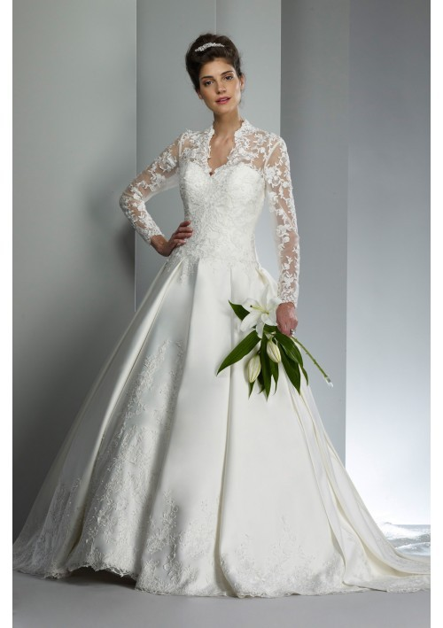 Classic Lace V-Neck with Full Length Sleeves Cathedral Length Wedding Gown