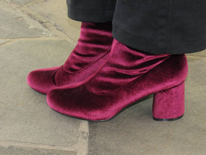 Velvet burgundy booties - many people have the same now