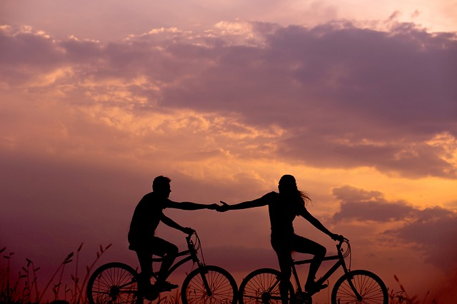 Cycling-and-sunset