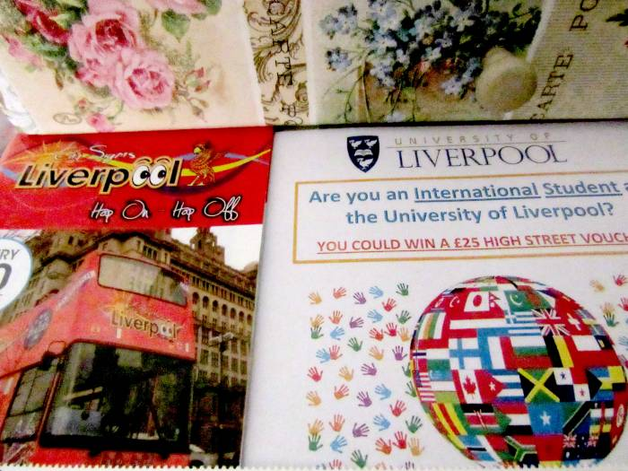 On a set of drawers I have the Liverpool map and as I love globes, I put the uni leaflet there :)