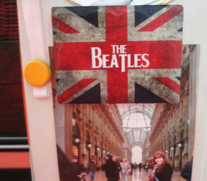 And the Union Jack with the Beatles, over a photo of me in Milan