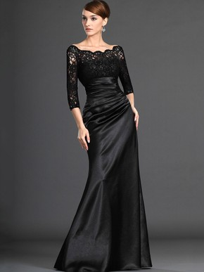 Ball Gown Lace Satin Scalloped Neck with Ruffles Floor-length Formal Dress