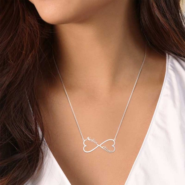Jeulia Two Name Heart Infinity Necklace Sterling Silver