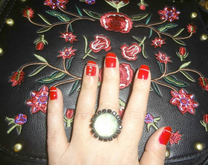 Nail art and the bag I wore. Will show it better another day :) Ring from Germany