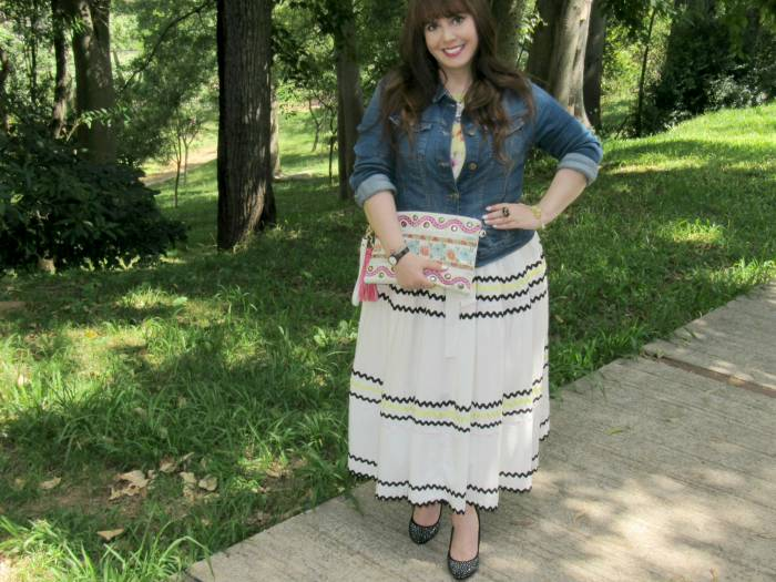 A bright look for tropical weather! This denim jacket and I are inseparable :) Clutch, gifted, Skirt, Amaro - it was a dress!